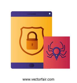 tablet with shield and spider isolated icons
