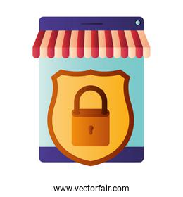 screen tent and shield with padlock isolated icons
