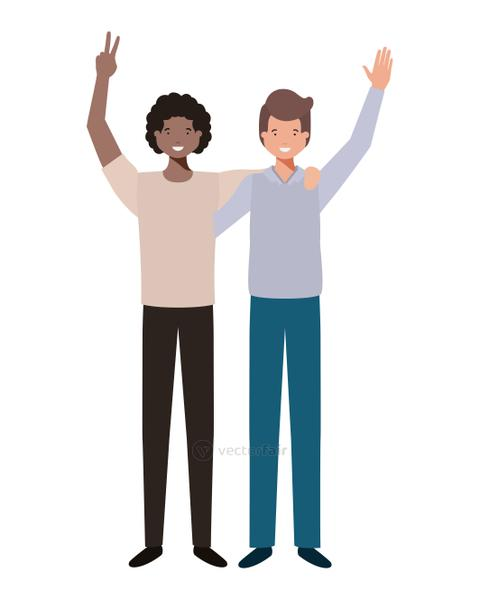 young men with hands up avatar character