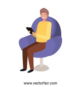 man sitting in chair avatar character