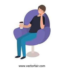 man sitting in chair with container coffee avatar character