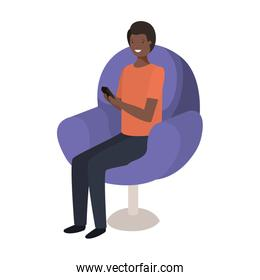 man sitting in chair with smartphone avatar character