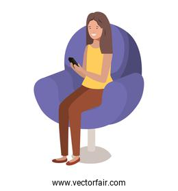 young woman in chair with smartphone avatar character