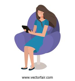 young woman in chair with laptop avatar character