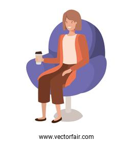 young woman in chair container plastic coffee avatar character