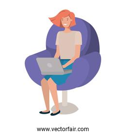 young woman in chair avatar character