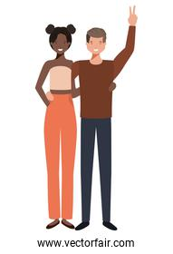 isolated young  couple illustration vector