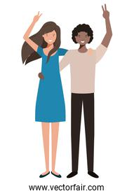 young couple with hands up avatar character