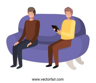 young men sitting on sofa with avatar character