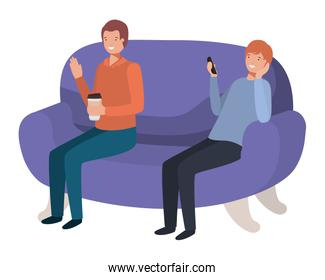 young men sitting on purple sofa with avatar character