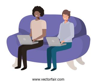 young men sitting on sofa with laptop avatar character
