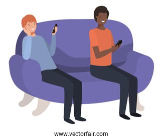 young men sitting on sofa with smartphone avatar character