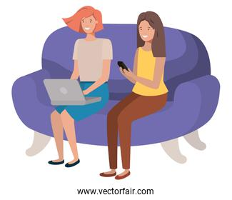 young women sitting on sofa avatar character