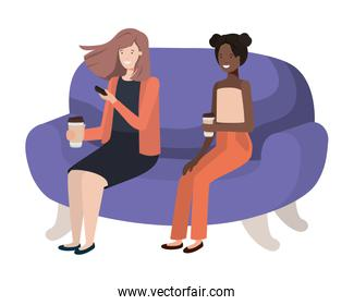 women sitting on sofa with coffee container avatar character