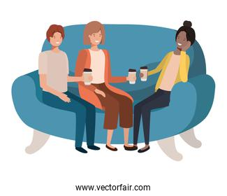 group of smiling people in sofa drinking coffee avatar character