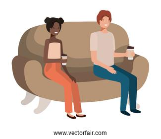 couple in sofa drinking coffee avatar character