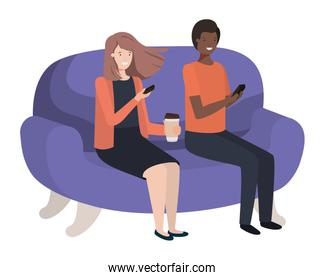 couple using smartphone in the sofa avatar character