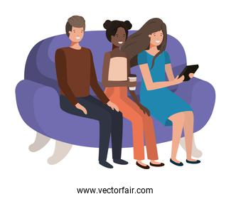 group of people seated in sofa avatar character