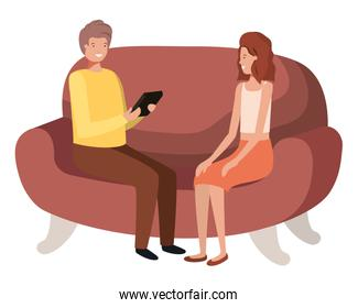 couple using tablet in the sofa avatar character