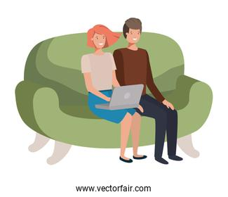young couple using laptop in the sofa avatar character