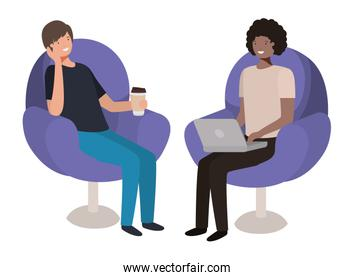 couple men in sofas with laptop over white