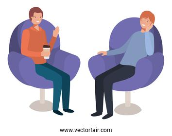 couple men in sofas drinking coffee