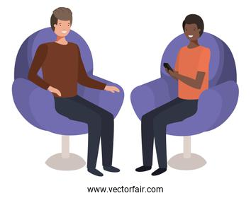 couple men in sofa with smartphone device