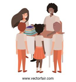 female teacher black in the classroom with students