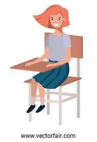 young student girl sitting in school chair