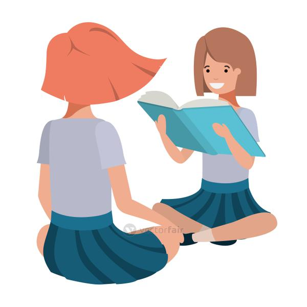 young students girls sitting reading book
