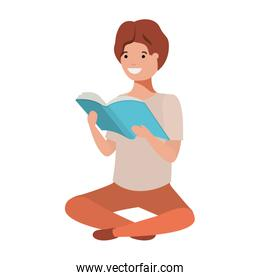 young student sitting reading book