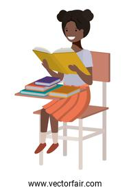 young student black girl reading in school chair