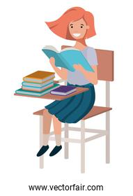 young student girl reading in school chair