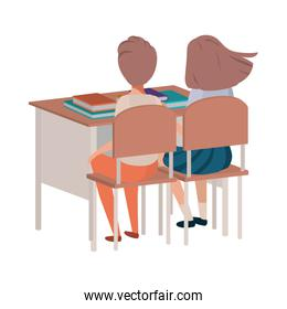 young students sitting in school desk