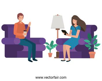 couple sitting in the living room with container coffee