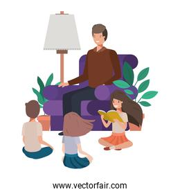 man with children in living room avatar character