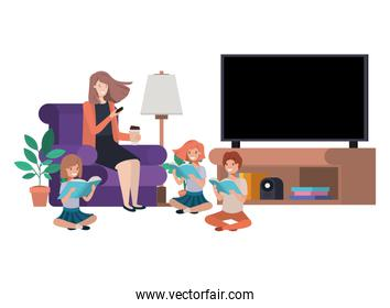woman with children in living room avatar character