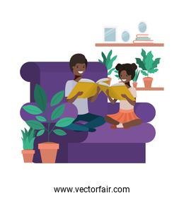 young couple afro in the livingroom avatar character