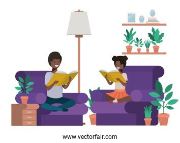 young couple afro in the livingroom avatar