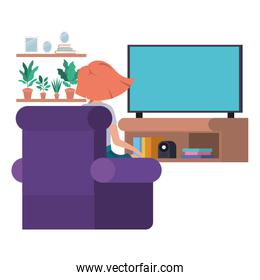 young woman sitting in the livingroom avatar character