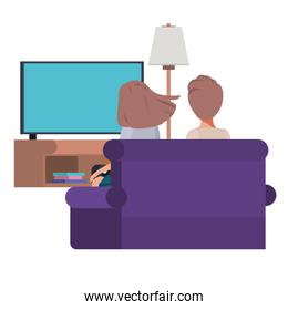 young couple sitting in the livingroom avatar character