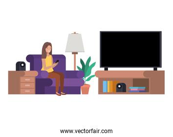 woman in the livingroom with cellphone avatar character