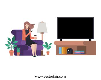 young woman in the livingroom with smartphone avatar character