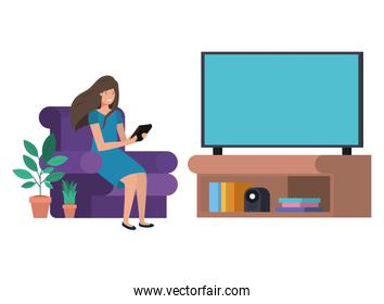 young woman in the livingroom with tablet avatar character