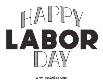 happy labor day label isolated icon