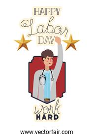 young doctor celebrating the labor day avatar character