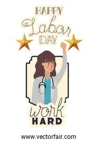 female doctor celebrating the labor day avatar character