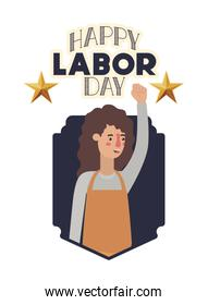 young woman with apron celebrating the labor day   character