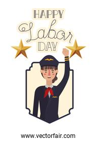 young woman pilot celebrating the labor day avatar character