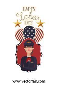woman pilot celebrating the labor day avatar character